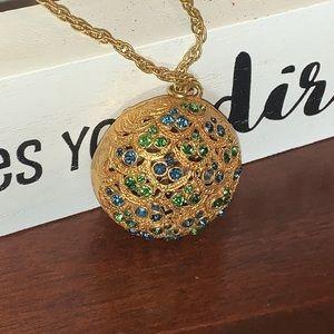 BSK Blue &Green rhinestone Peacock w Gold Necklace